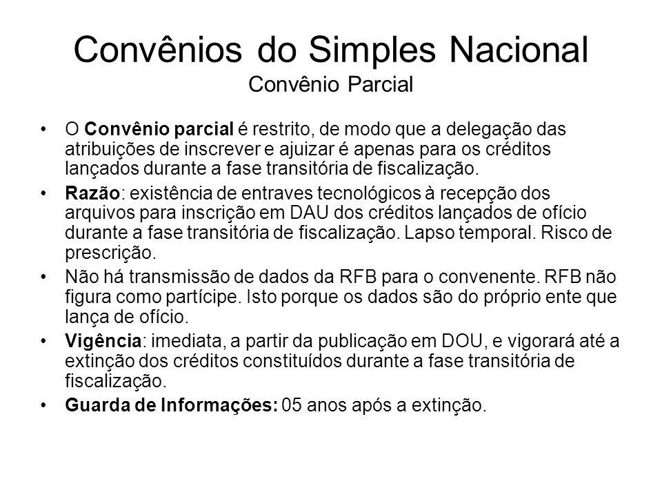 Convênios do Simples Nacional Convênio Parcial O Convênio parcial é restrito, de modo que a delegação das atribuições de inscrever e ajuizar é apenas