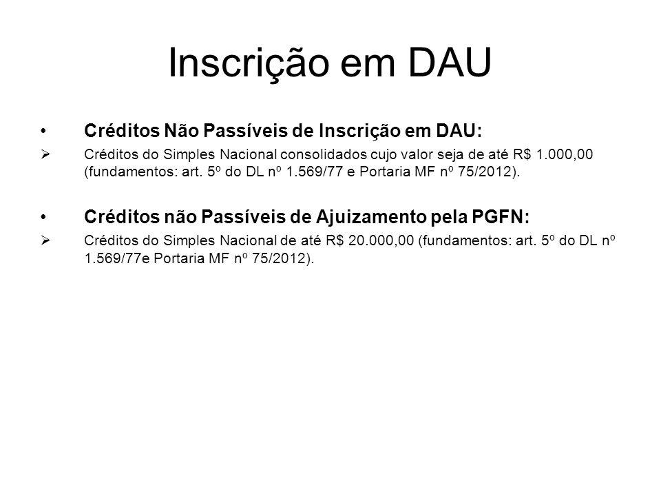 Inscrição em DAU Créditos Não Passíveis de Inscrição em DAU:  Créditos do Simples Nacional consolidados cujo valor seja de até R$ 1.000,00 (fundament
