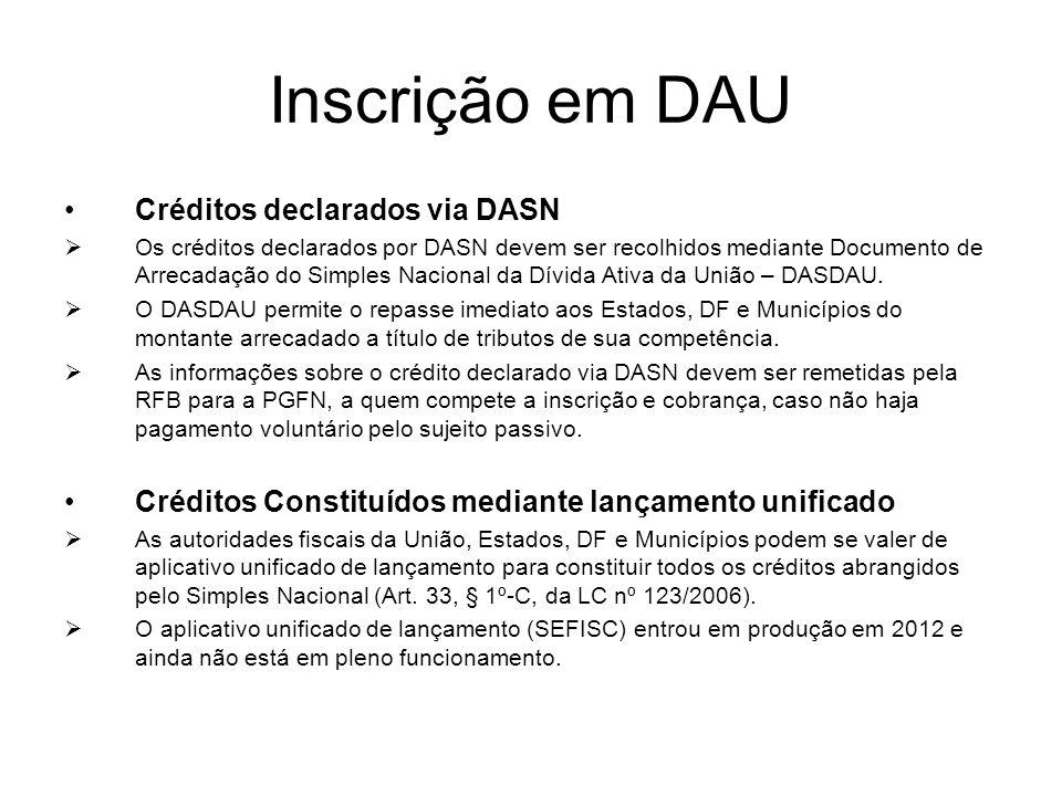 Inscrição em DAU Créditos declarados via DASN  Os créditos declarados por DASN devem ser recolhidos mediante Documento de Arrecadação do Simples Naci