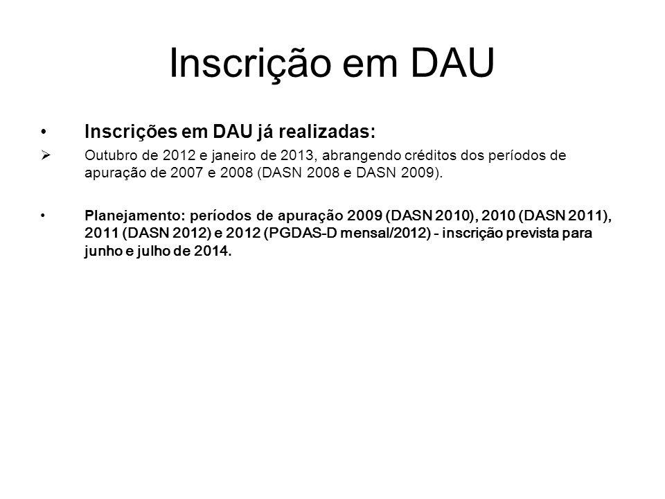 Inscrição em DAU Inscrições em DAU já realizadas:  Outubro de 2012 e janeiro de 2013, abrangendo créditos dos períodos de apuração de 2007 e 2008 (DA
