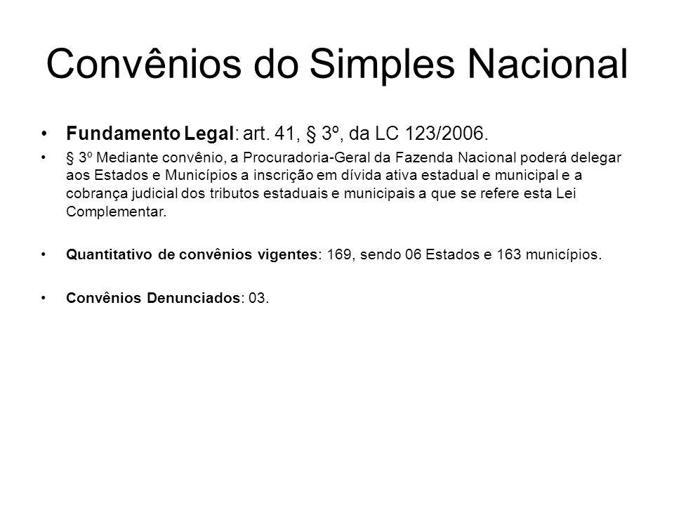Fundamento Legal: art. 41, § 3º, da LC 123/2006. § 3º Mediante convênio, a Procuradoria-Geral da Fazenda Nacional poderá delegar aos Estados e Municíp