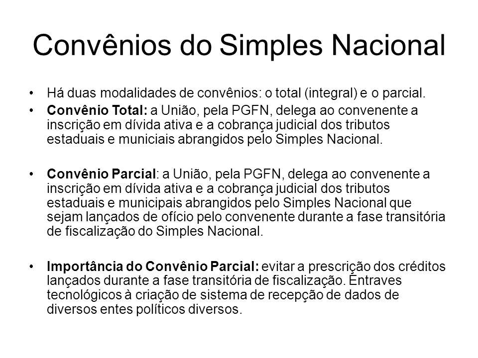 Convênios do Simples Nacional Há duas modalidades de convênios: o total (integral) e o parcial. Convênio Total: a União, pela PGFN, delega ao convenen