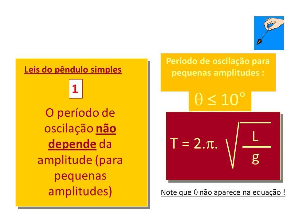 m L  Período de oscilação para pequenas amplitudes :  ≤ 10° T = 2. . L g