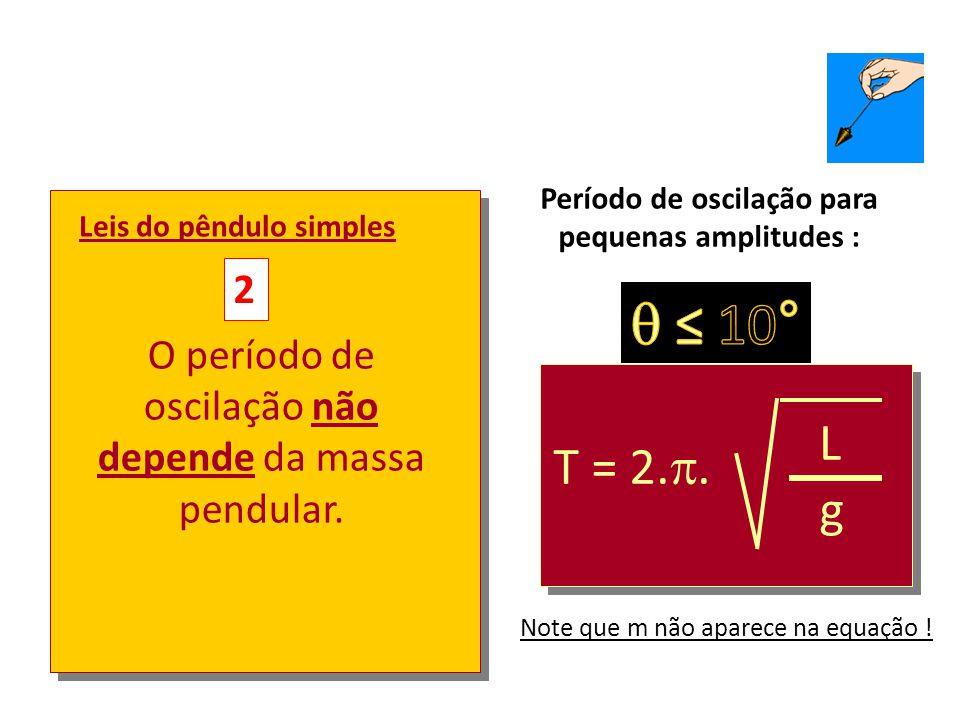 Leis do pêndulo simples 1 O período de oscilação não depende da amplitude (para pequenas amplitudes)  ≤ 10° T = 2.