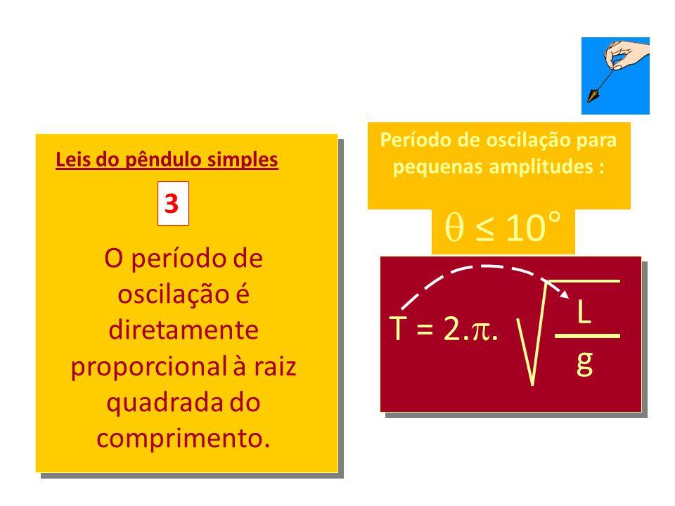 T = 2.. L g Leis do pêndulo simples 2 O período de oscilação não depende da massa pendular.