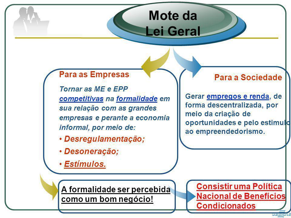 Para as Empresas Tornar as ME e EPP competitivas na formalidade em sua relação com as grandes empresas e perante a economia informal, por meio de: Desregulamentação; Desoneração; Estímulos.