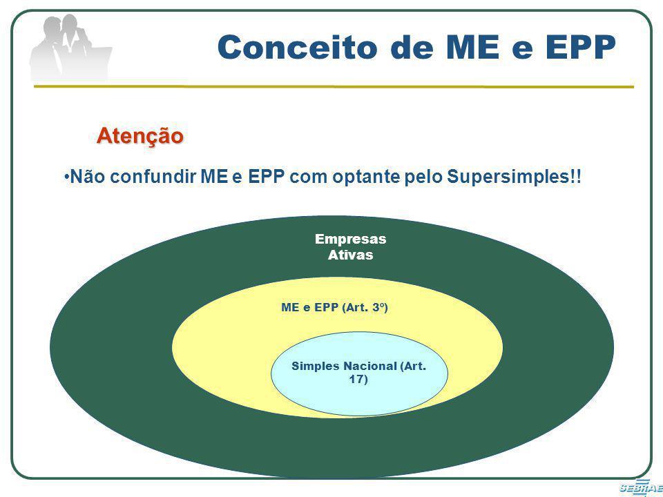 Conceito de ME e EPP Atenção Não confundir ME e EPP com optante pelo Supersimples!.