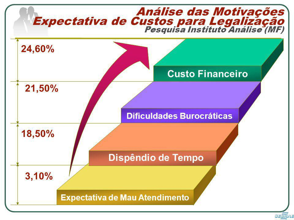 Análise das Motivações Expectativa de Custos para Legalização Pesquisa Instituto Análise (MF) Custo Financeiro Dificuldades Burocráticas Expectativa de Mau Atendimento 24,60% 18,50% 21,50% 3,10% Dispêndio de Tempo