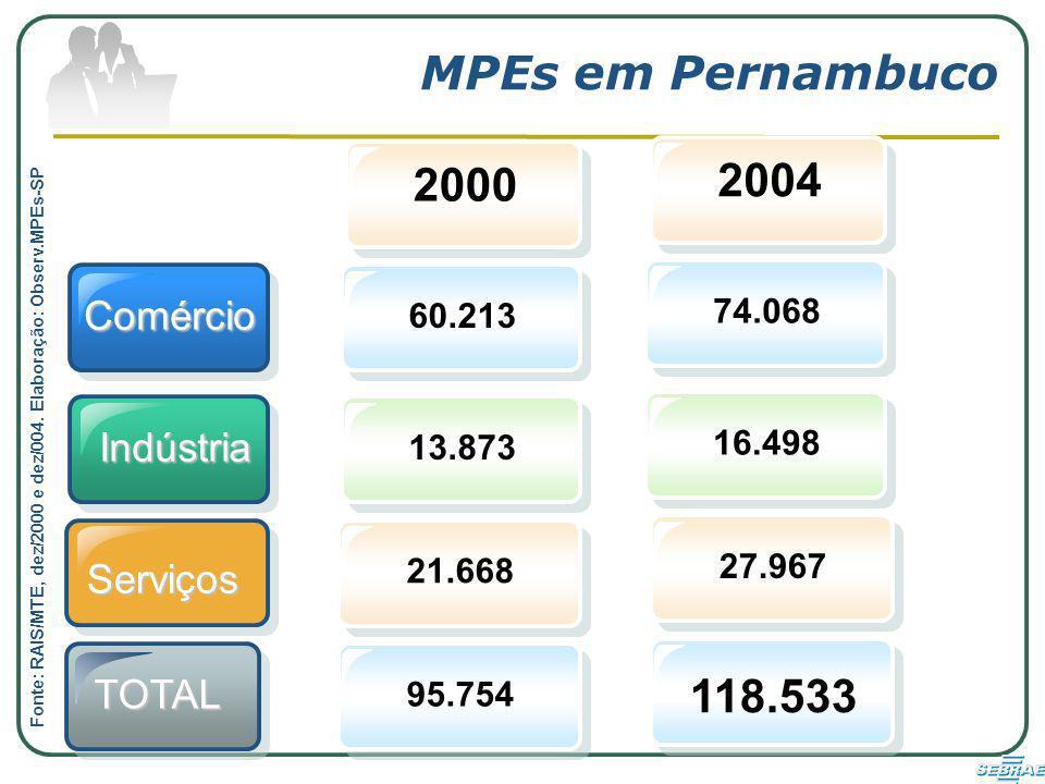Comércio Indústria 2000 60.21313.873 MPEs em Pernambuco 2004 74.06816.498 Serviços 21.66895.75427.967 118.533 TOTAL Fonte: RAIS/MTE, dez/2000 e dez/004.