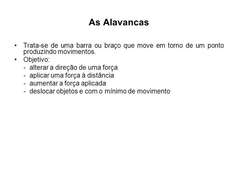 As Alavancas Trata-se de uma barra ou braço que move em torno de um ponto produzindo movimentos. Objetivo: - alterar a direção de uma força - aplicar