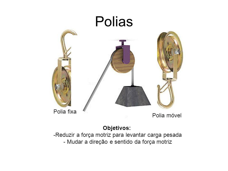 Polias Objetivos: -Reduzir a força motriz para levantar carga pesada - Mudar a direção e sentido da força motriz Polia fixa Polia móvel