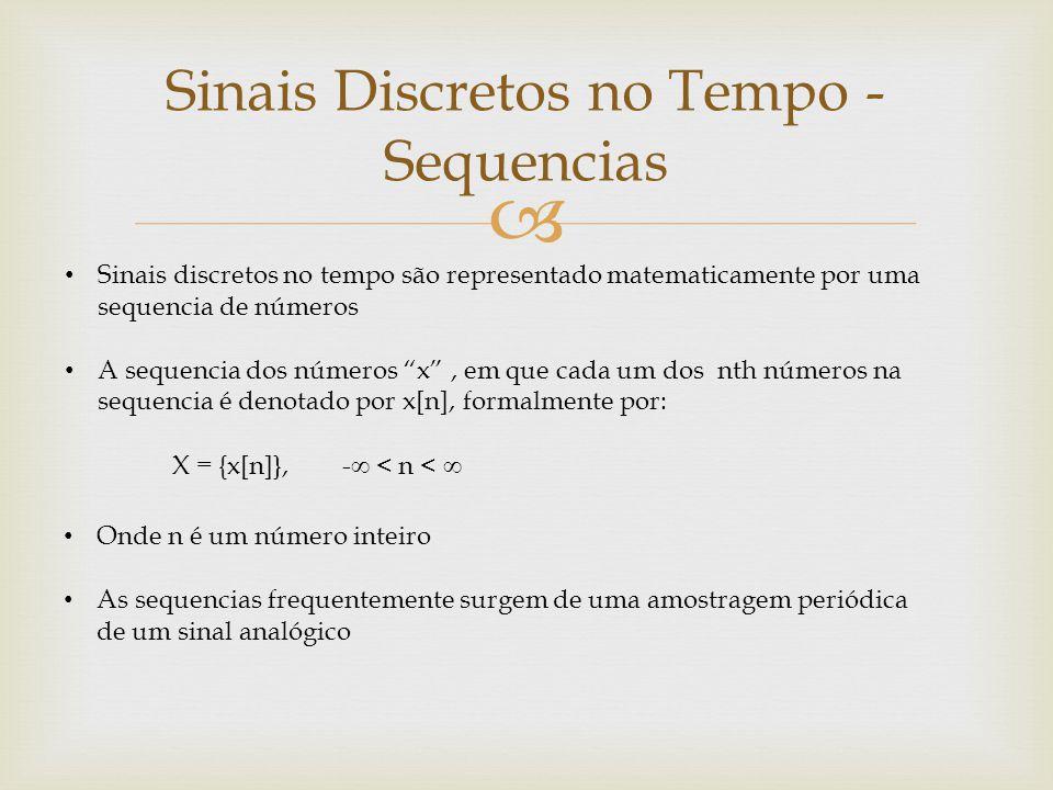  Sinais Discretos no Tempo - Sequencias Sinais discretos no tempo são representado matematicamente por uma sequencia de números A sequencia dos númer