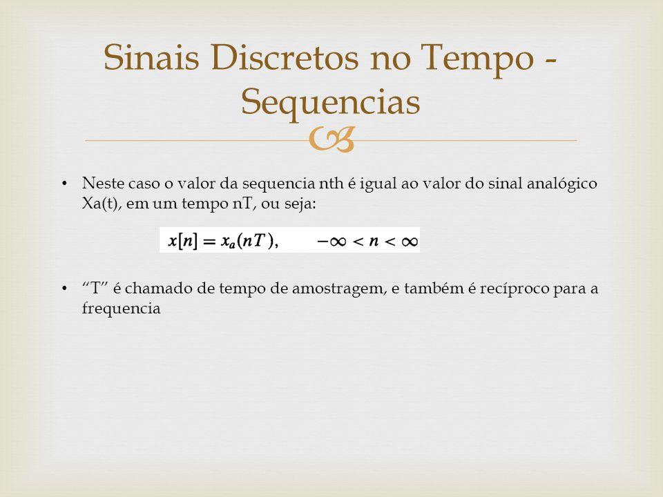 """ Sinais Discretos no Tempo - Sequencias Neste caso o valor da sequencia nth é igual ao valor do sinal analógico Xa(t), em um tempo nT, ou seja: """"T"""" é"""
