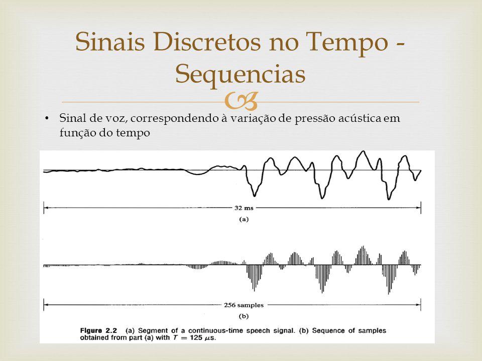  Sinais Discretos no Tempo - Sequencias Sinal de voz, correspondendo à variação de pressão acústica em função do tempo
