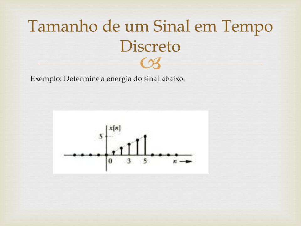  Tamanho de um Sinal em Tempo Discreto Exemplo: Determine a energia do sinal abaixo.