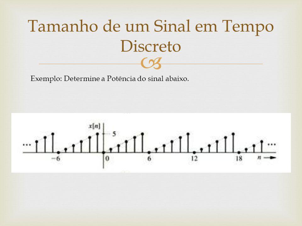  Tamanho de um Sinal em Tempo Discreto Exemplo: Determine a Potência do sinal abaixo.