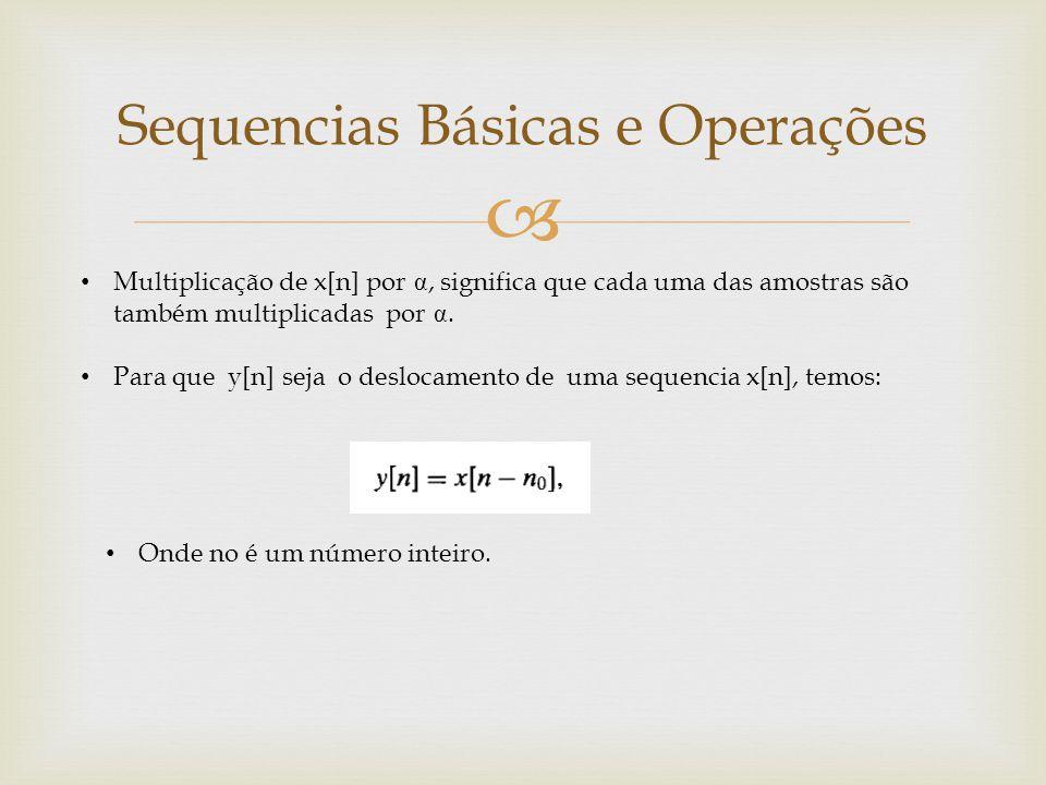  Sequencias Básicas e Operações Multiplicação de x[n] por α, significa que cada uma das amostras são também multiplicadas por α. Para que y[n] seja o