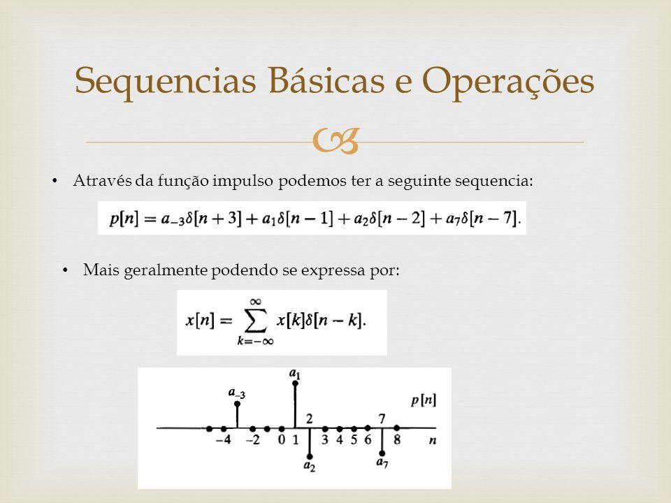  Através da função impulso podemos ter a seguinte sequencia: Mais geralmente podendo se expressa por: Sequencias Básicas e Operações