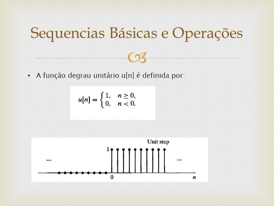  A função degrau unitário u[n] é definida por: Sequencias Básicas e Operações