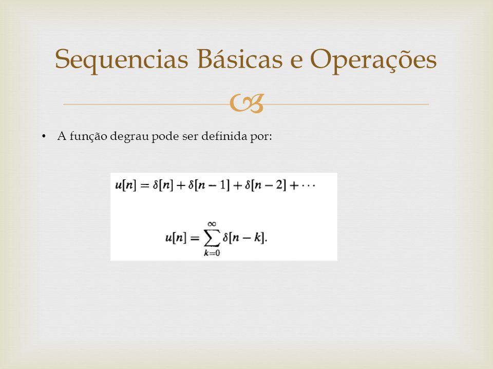  A função degrau pode ser definida por: Sequencias Básicas e Operações