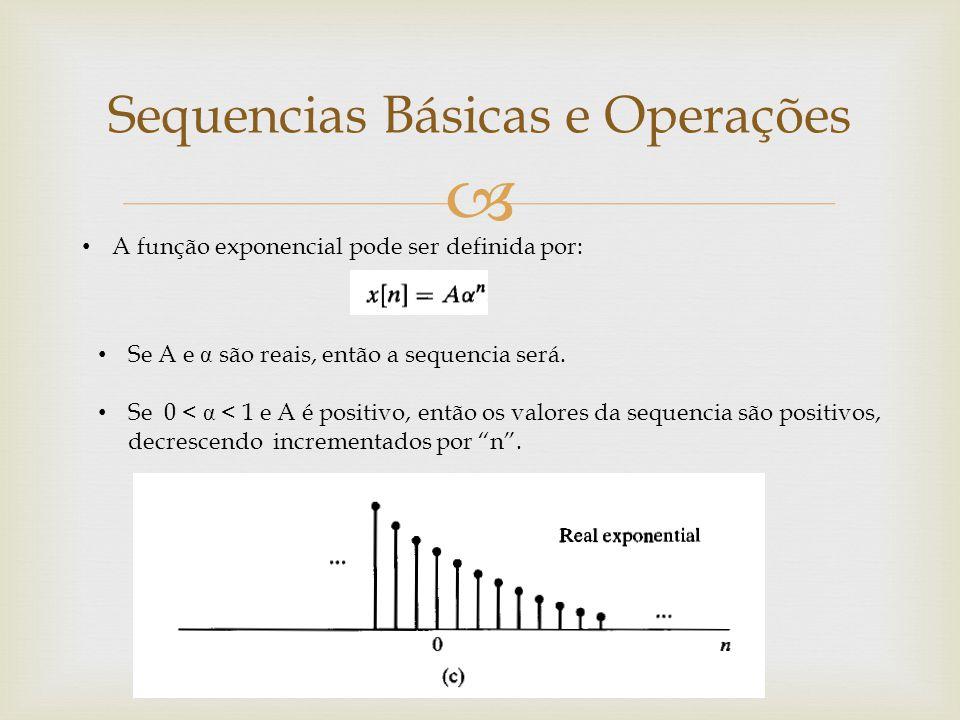  A função exponencial pode ser definida por: Sequencias Básicas e Operações Se A e α são reais, então a sequencia será. Se 0 < α < 1 e A é positivo,