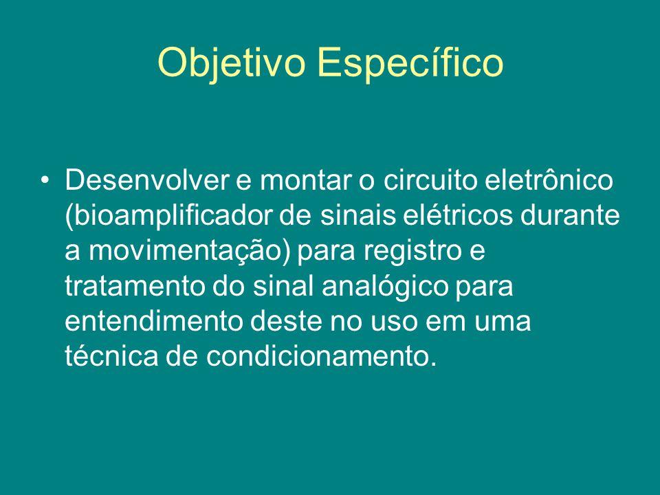 Objetivo Específico Desenvolver e montar o circuito eletrônico (bioamplificador de sinais elétricos durante a movimentação) para registro e tratamento