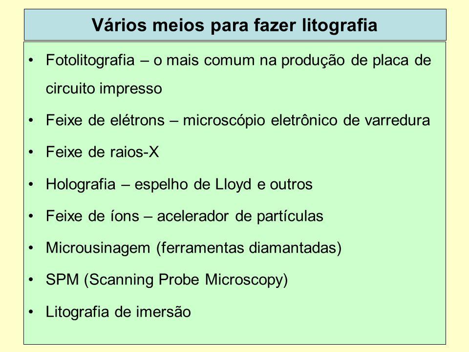 39 Vários meios para fazer litografia Fotolitografia – o mais comum na produção de placa de circuito impresso Feixe de elétrons – microscópio eletrônico de varredura Feixe de raios-X Holografia – espelho de Lloyd e outros Feixe de íons – acelerador de partículas Microusinagem (ferramentas diamantadas) SPM (Scanning Probe Microscopy) Litografia de imersão