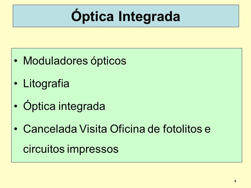 4 Óptica Integrada Moduladores ópticos Litografia Óptica integrada Cancelada Visita Oficina de fotolitos e circuitos impressos