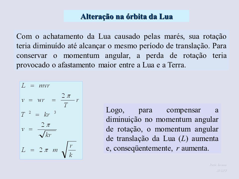 Acredita-se que, no passado, o período de rotação da Lua era menor do que o seu período de translação em torno da Terra. Ao girar, ela tentava arrasta