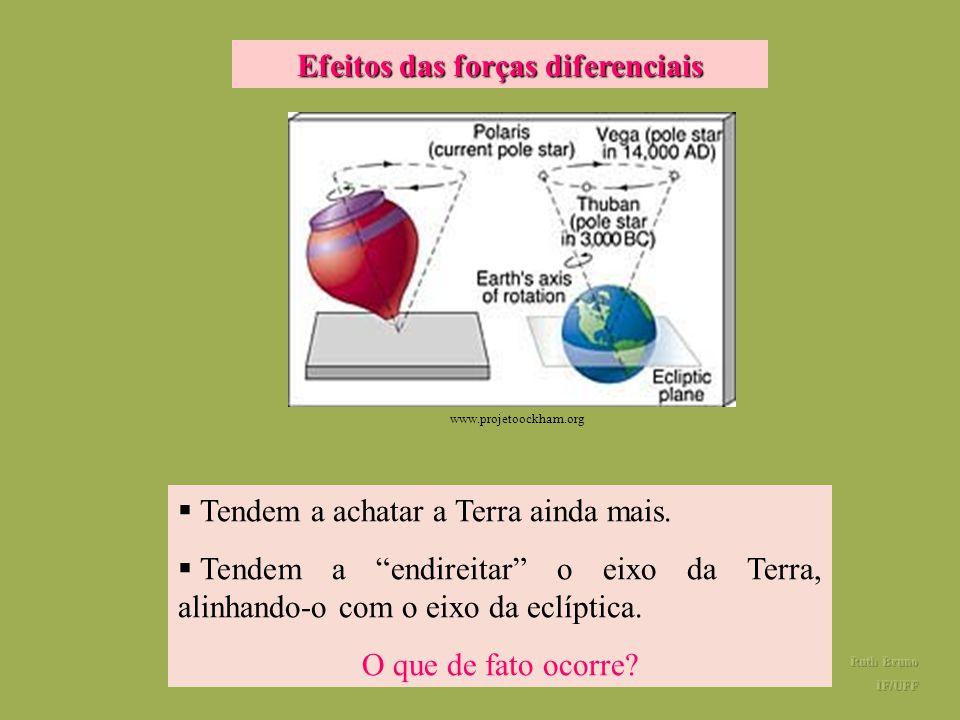 Precessão da Terra O movimento de precessão da Terra é causado pelas forças diferenciais exercidas pelo Sol e pela Lua. Por que as forças diferenciais