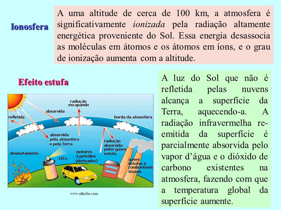 Camada de Ozônio Na região da estratosfera se encontra a camada de ozônio, onde, a uma altitude de cerca de 50 km, a temperatura do ar aumenta quando