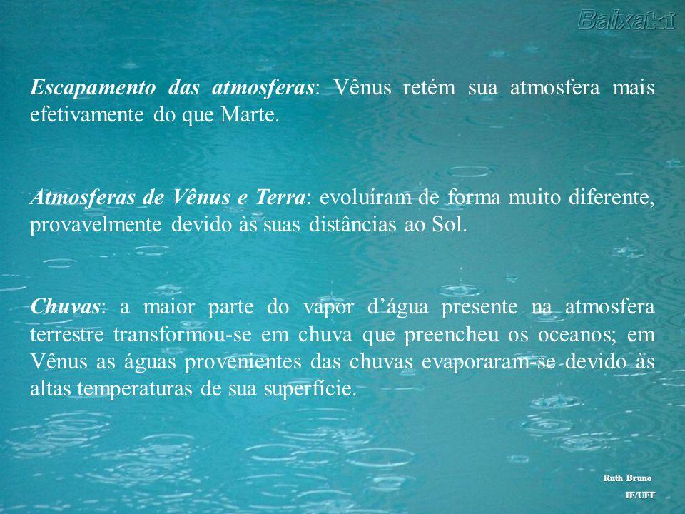 Similaridades e diferenças entre Vênus, Terra e Marte Estrutura interna: composição química – semelhantes massa – Vênus e Terra : semelhantes Atmosfer