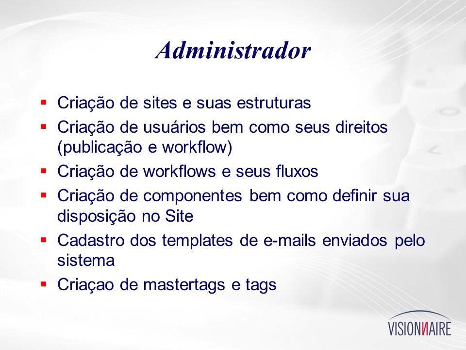 Administrador  Criação de sites e suas estruturas  Criação de usuários bem como seus direitos (publicação e workflow)  Criação de workflows e seus fluxos  Criação de componentes bem como definir sua disposição no Site  Cadastro dos templates de e-mails enviados pelo sistema  Criaçao de mastertags e tags