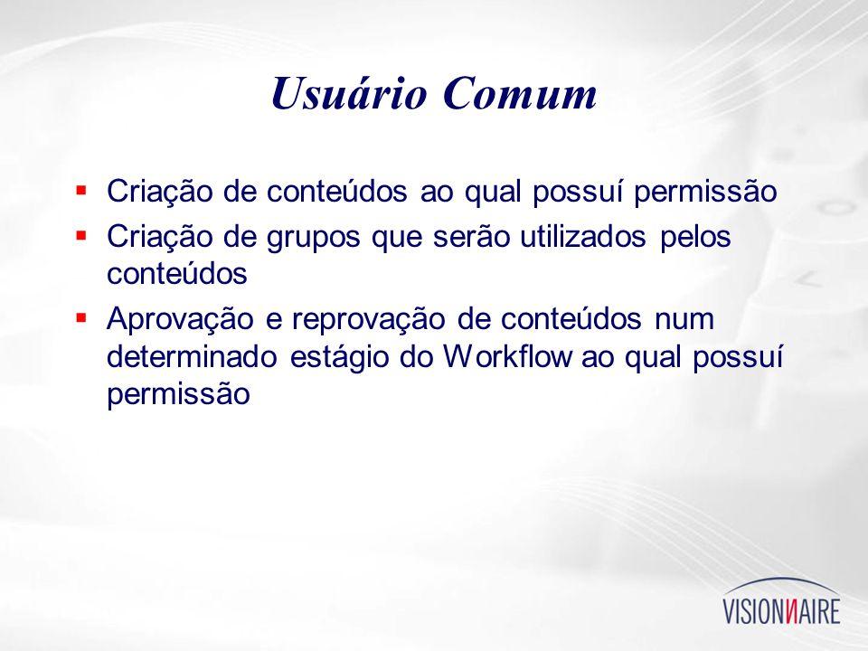 Usuário Comum  Criação de conteúdos ao qual possuí permissão  Criação de grupos que serão utilizados pelos conteúdos  Aprovação e reprovação de conteúdos num determinado estágio do Workflow ao qual possuí permissão