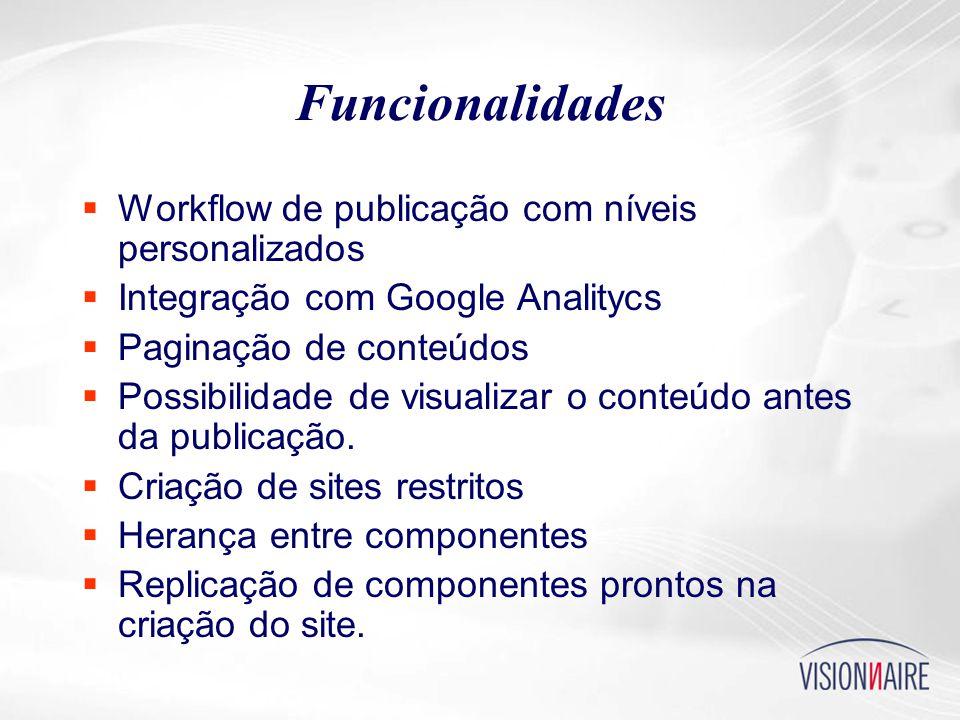Funcionalidades  Workflow de publicação com níveis personalizados  Integração com Google Analitycs  Paginação de conteúdos  Possibilidade de visualizar o conteúdo antes da publicação.