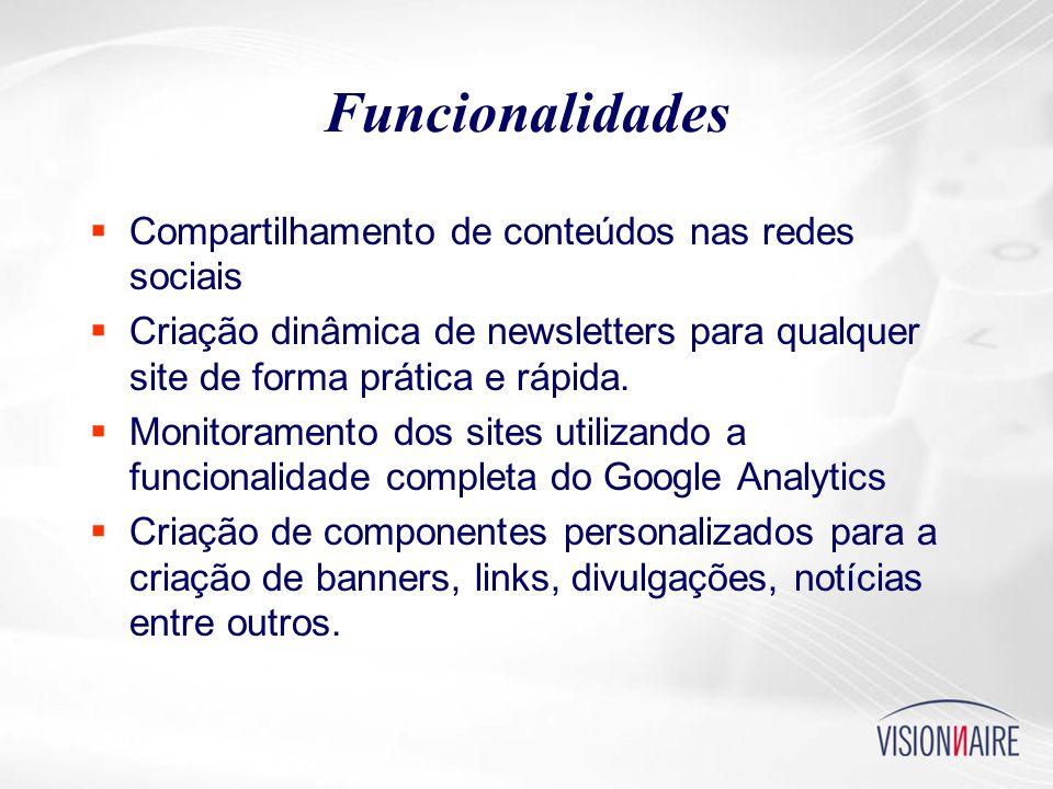 Funcionalidades  Compartilhamento de conteúdos nas redes sociais  Criação dinâmica de newsletters para qualquer site de forma prática e rápida.