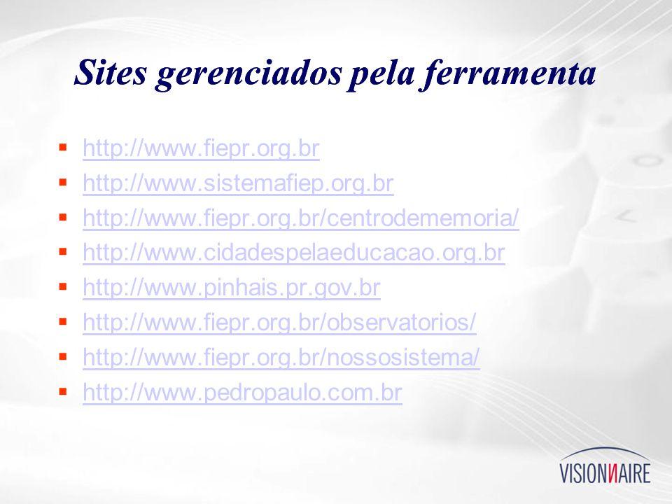 Sites gerenciados pela ferramenta  http://www.fiepr.org.br http://www.fiepr.org.br  http://www.sistemafiep.org.br http://www.sistemafiep.org.br  http://www.fiepr.org.br/centrodememoria/ http://www.fiepr.org.br/centrodememoria/  http://www.cidadespelaeducacao.org.br http://www.cidadespelaeducacao.org.br  http://www.pinhais.pr.gov.br http://www.pinhais.pr.gov.br  http://www.fiepr.org.br/observatorios/ http://www.fiepr.org.br/observatorios/  http://www.fiepr.org.br/nossosistema/ http://www.fiepr.org.br/nossosistema/  http://www.pedropaulo.com.br http://www.pedropaulo.com.br Sites gerenciados pela ferramenta