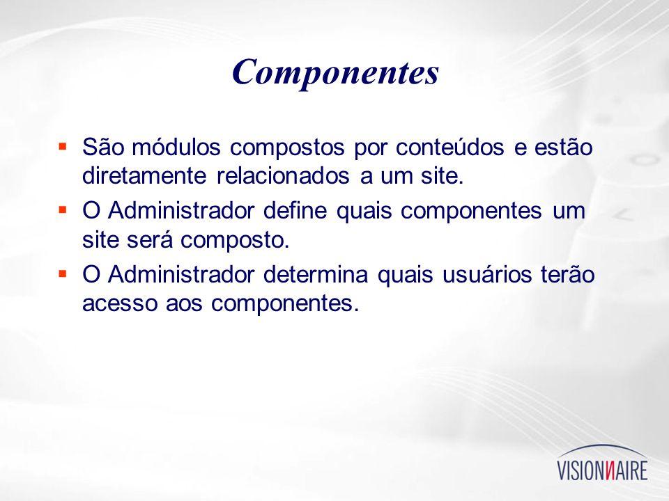 Componentes  São módulos compostos por conteúdos e estão diretamente relacionados a um site.
