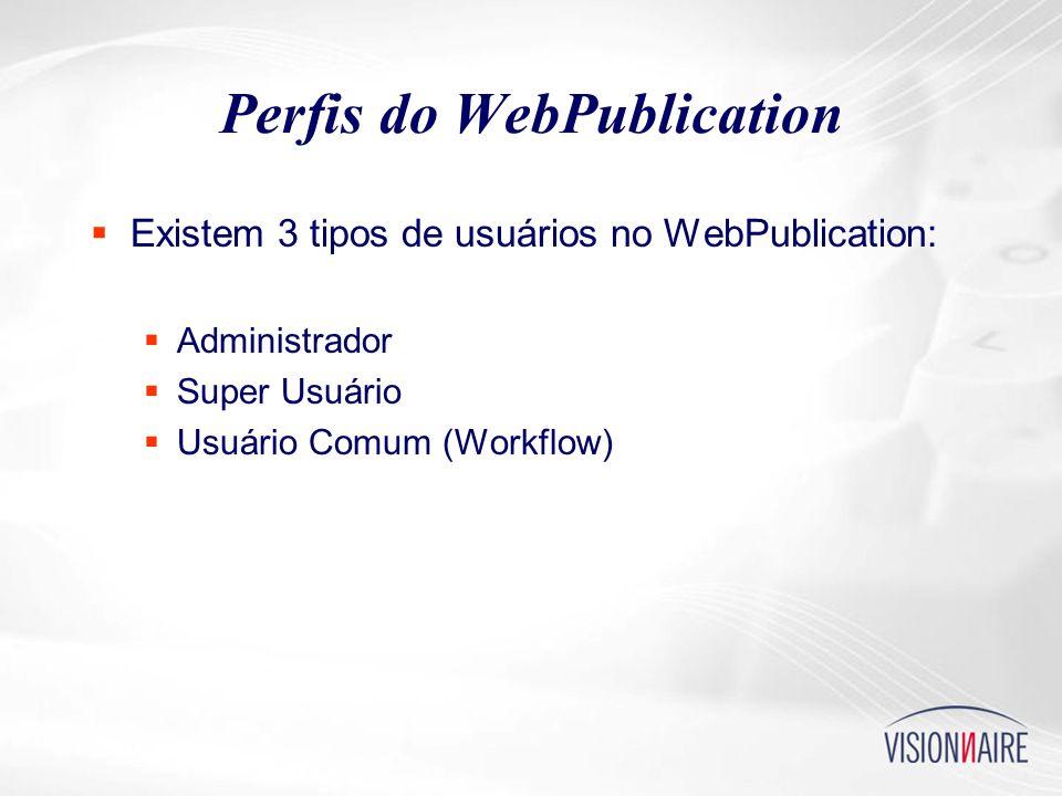 Perfis do WebPublication  Existem 3 tipos de usuários no WebPublication:  Administrador  Super Usuário  Usuário Comum (Workflow)