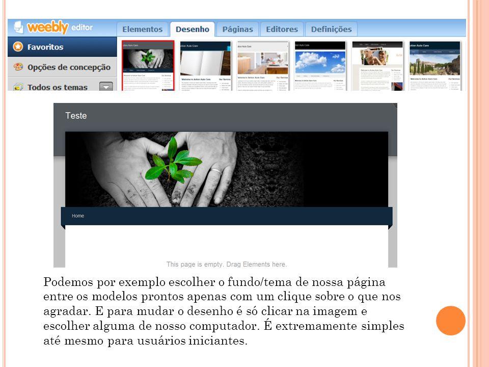 Podemos por exemplo escolher o fundo/tema de nossa página entre os modelos prontos apenas com um clique sobre o que nos agradar.