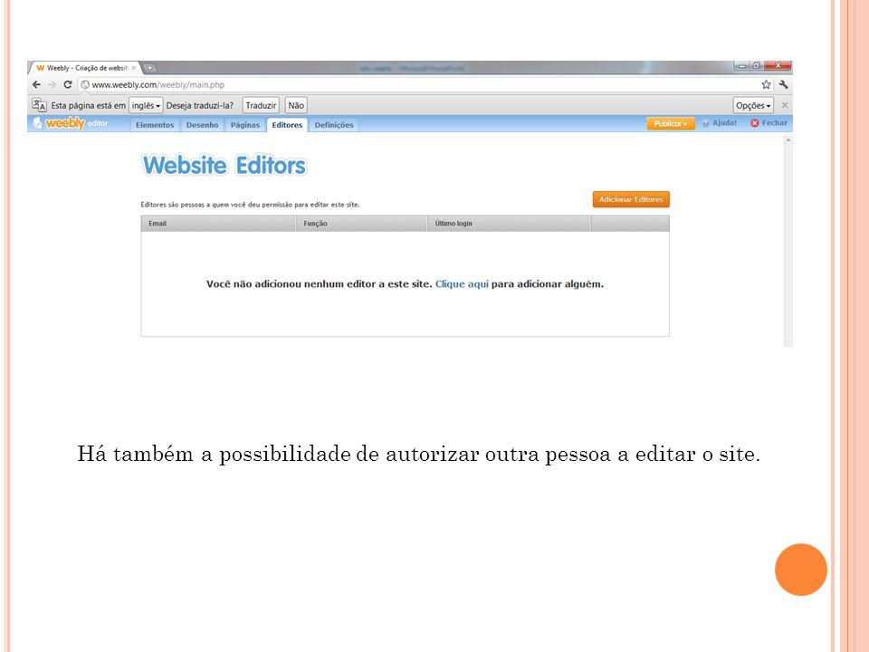 Há também a possibilidade de autorizar outra pessoa a editar o site.