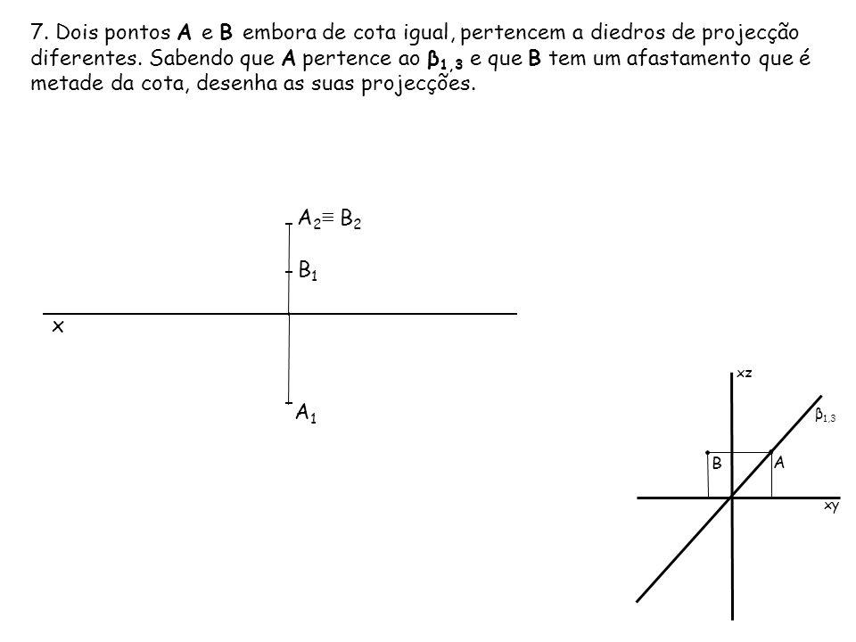 7. Dois pontos A e B embora de cota igual, pertencem a diedros de projecção diferentes. Sabendo que A pertence ao β 1,3 e que B tem um afastamento que