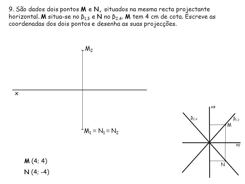 9. São dados dois pontos M e N, situados na mesma recta projectante horizontal. M situa-se no β 1,3 e N no β 2,4. M tem 4 cm de cota. Escreve as coord