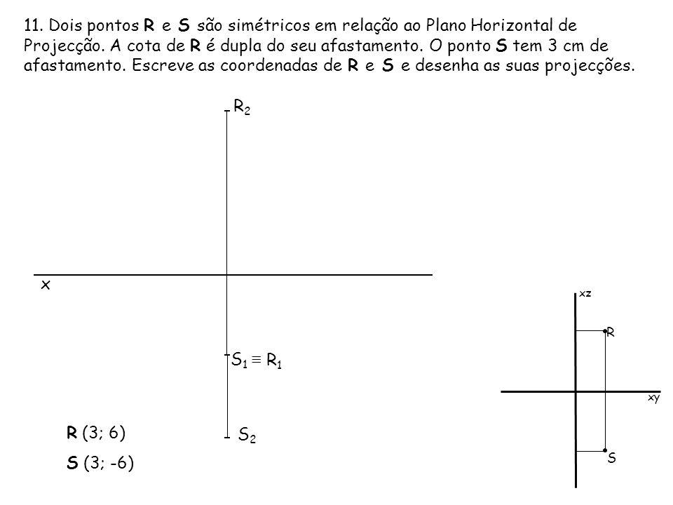 11. Dois pontos R e S são simétricos em relação ao Plano Horizontal de Projecção. A cota de R é dupla do seu afastamento. O ponto S tem 3 cm de afasta