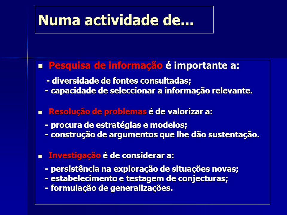 Numa actividade de... Pesquisa de informação é importante a: Pesquisa de informação é importante a: - diversidade de fontes consultadas; - diversidade
