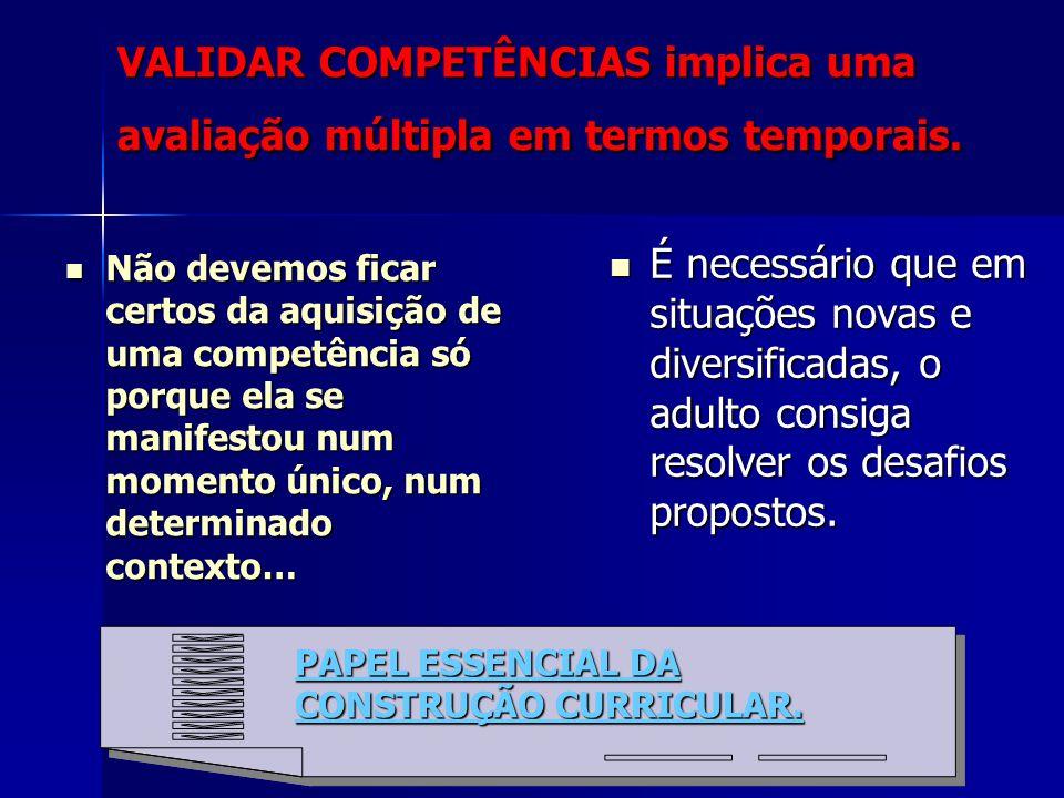 VALIDAR COMPETÊNCIAS implica uma avaliação múltipla em termos temporais. Não devemos ficar certos da aquisição de uma competência só porque ela se man