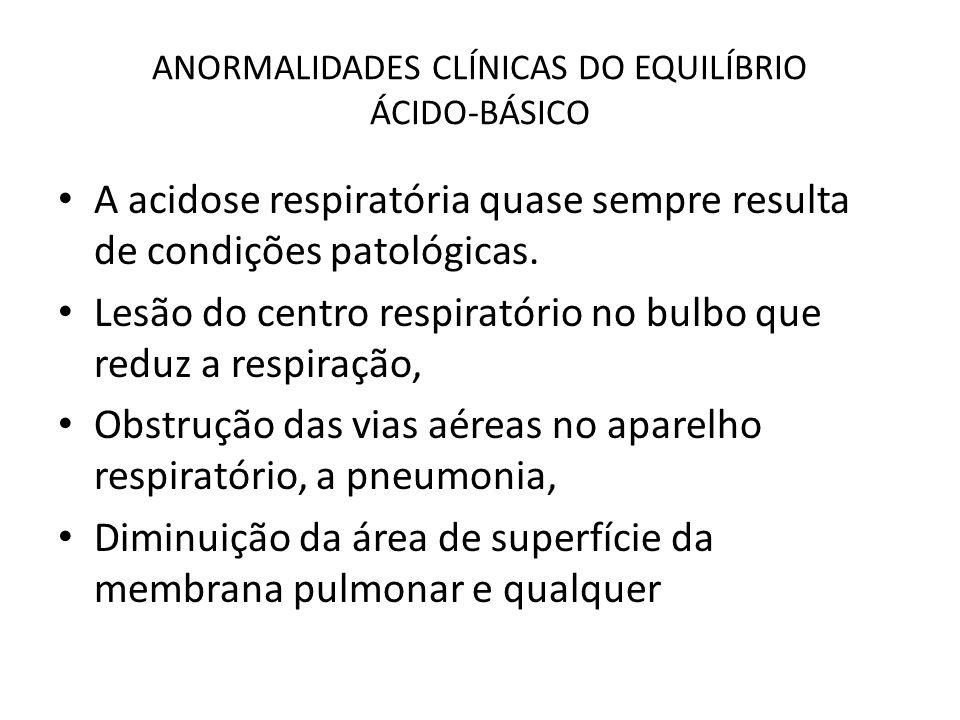 ANORMALIDADES CLÍNICAS DO EQUILÍBRIO ÁCIDO-BÁSICO A acidose respiratória quase sempre resulta de condições patológicas. Lesão do centro respiratório n