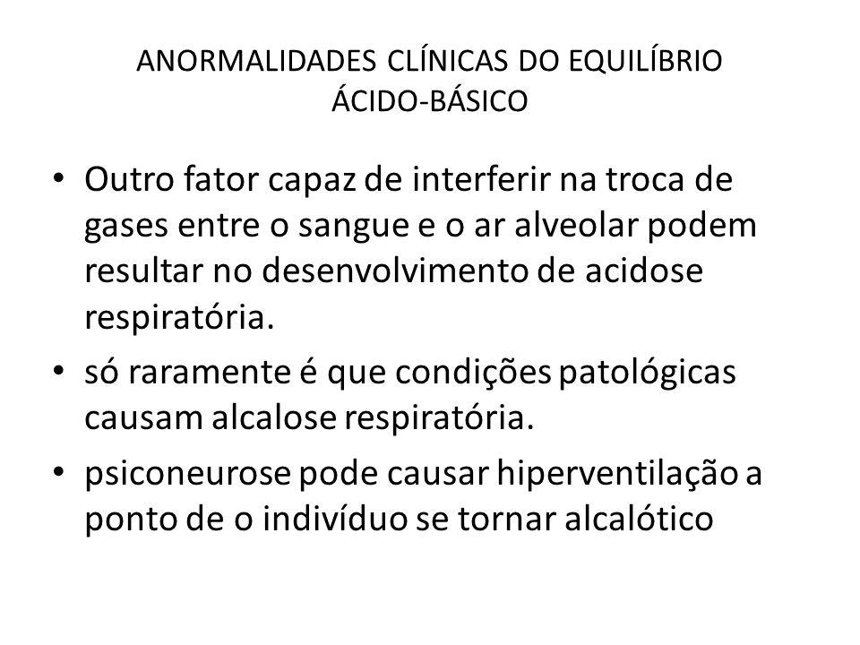 ANORMALIDADES CLÍNICAS DO EQUILÍBRIO ÁCIDO-BÁSICO Outro fator capaz de interferir na troca de gases entre o sangue e o ar alveolar podem resultar no d