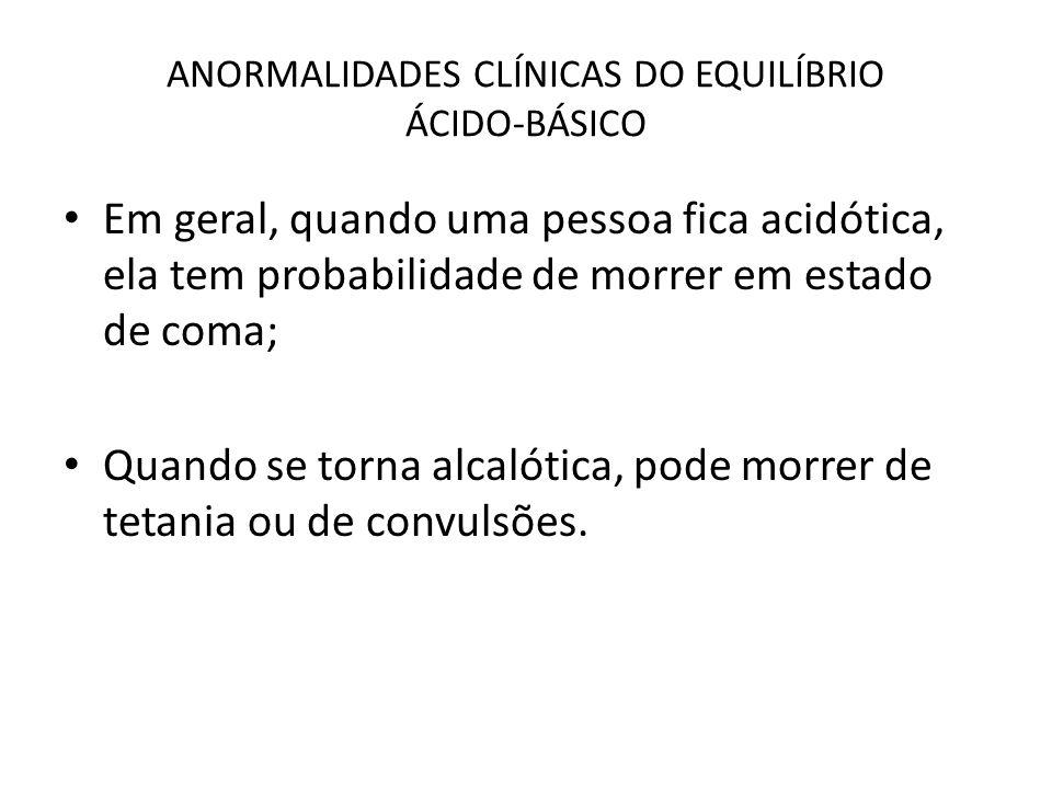 ANORMALIDADES CLÍNICAS DO EQUILÍBRIO ÁCIDO-BÁSICO Em geral, quando uma pessoa fica acidótica, ela tem probabilidade de morrer em estado de coma; Quand