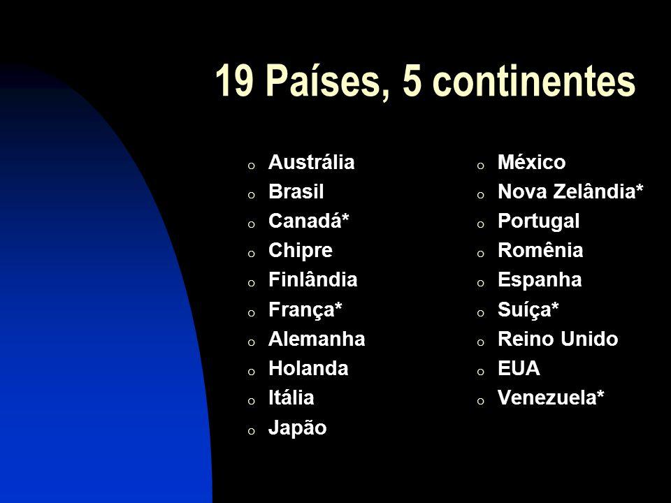 19 Países, 5 continentes o Austrália o Brasil o Canadá* o Chipre o Finlândia o França* o Alemanha o Holanda o Itália o Japão o México o Nova Zelândia* o Portugal o Romênia o Espanha o Suíça* o Reino Unido o EUA o Venezuela*